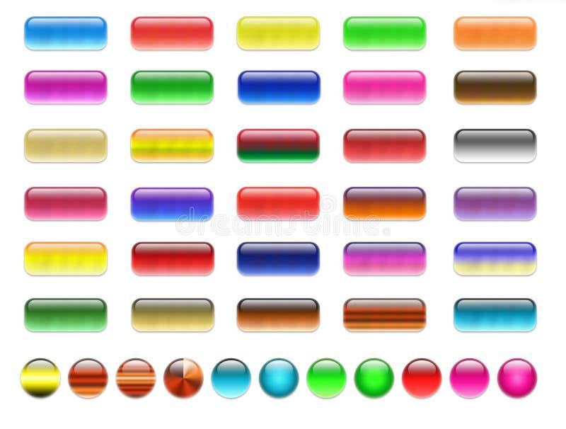Blanc, boutons de Web de gel illustration stock