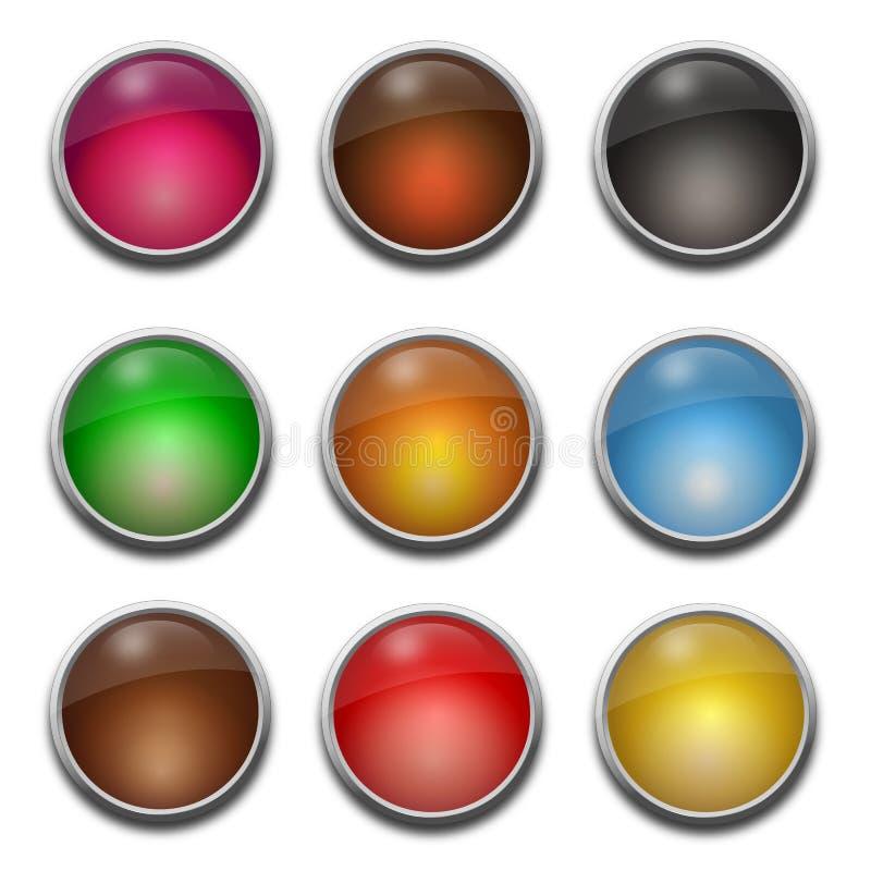 Blanc, boutons en verre de Web illustration stock