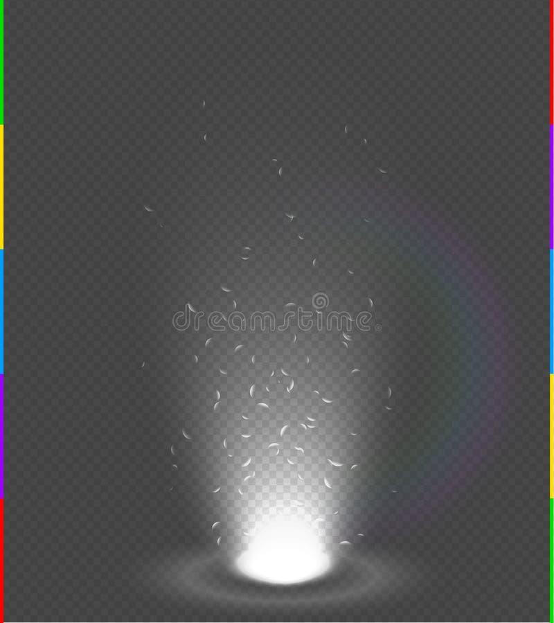 Blanc chaud rayonne la scène de nuit avec des étincelles sur l'arc-en-ciel transparent de fond Transparent dans le format supplém illustration stock