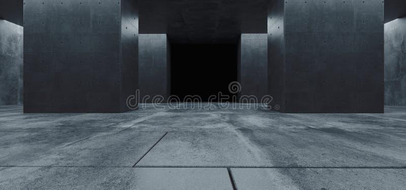 Blanc chaud souterrain Asphalt Room Gallery de Sci fi de plancher de tuiles de colonnes de garage réfléchi grunge concret futuris illustration libre de droits