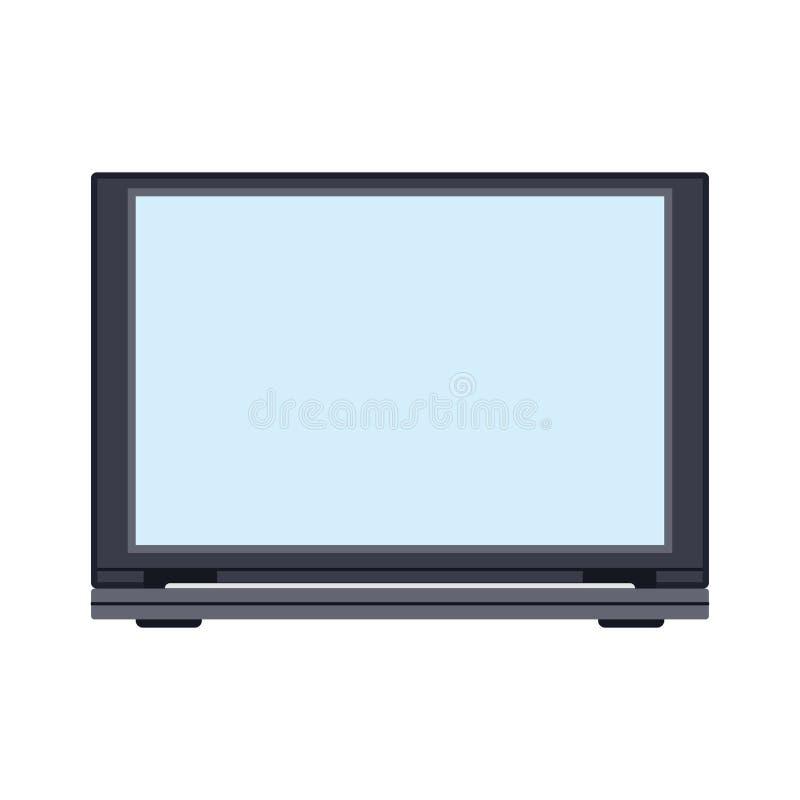 Blanc d'écran d'affaires d'icône de vecteur de vue de face d'ordinateur portable Au-dessus de l'équipement de PC d'affichage plat illustration de vecteur