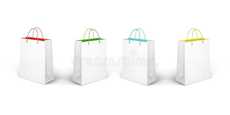 blanc d'achats de vente de papier d'oncept d'isolement par sac illustration libre de droits