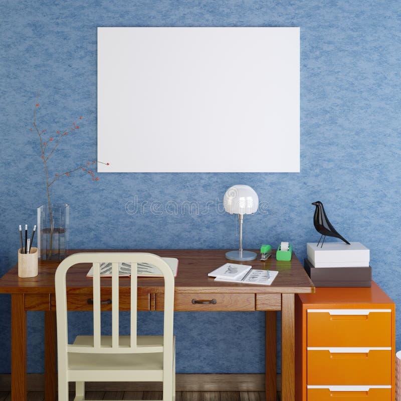 Blanc d'affiche de maquette sur le bleu illustration stock