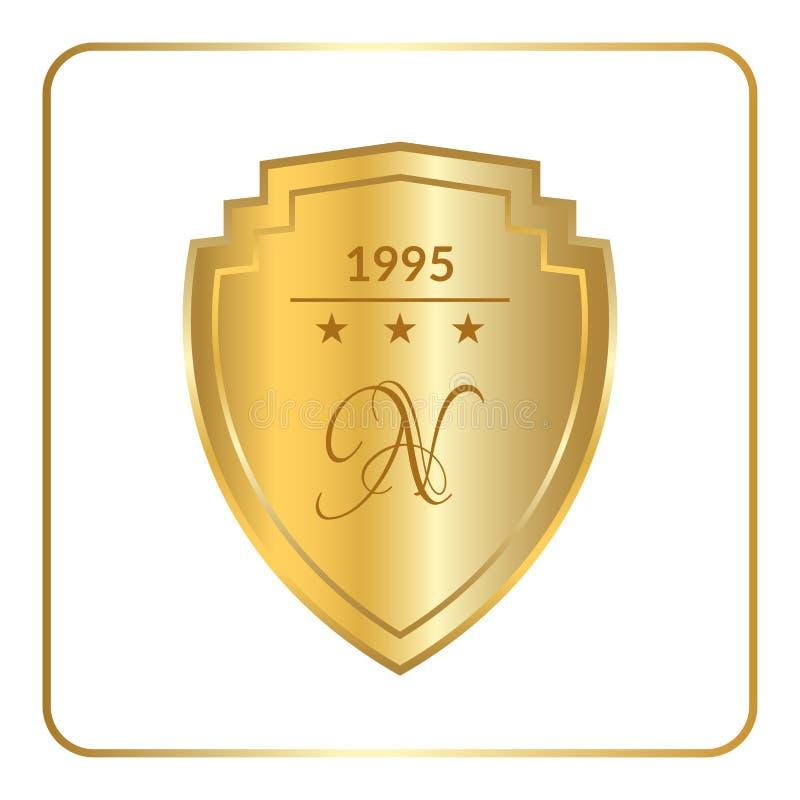 Blanc d'or d'emblème de bouclier illustration stock