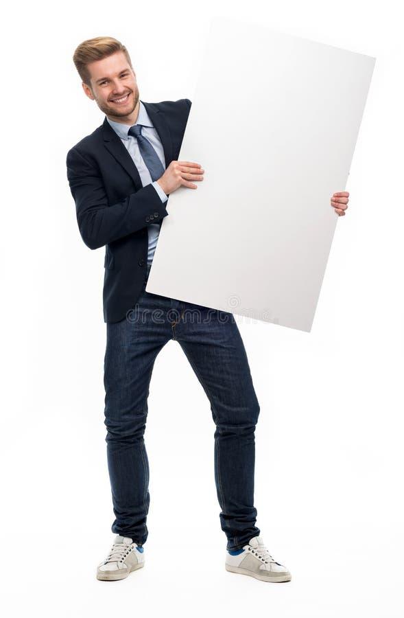 blanc d'homme de fixation d'affaires de panneau image stock