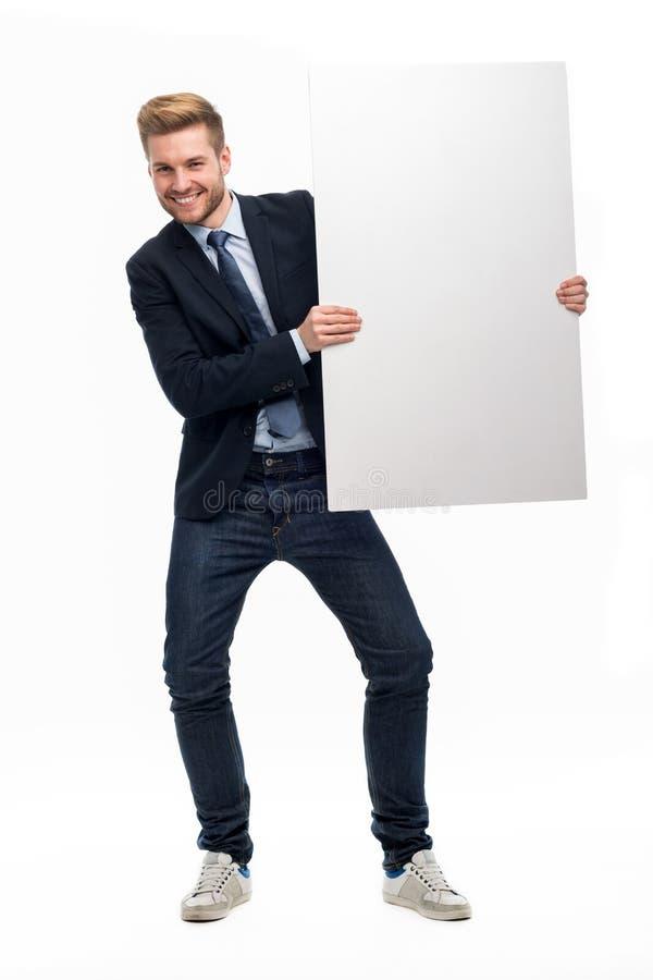 blanc d'homme de fixation d'affaires de panneau photo stock
