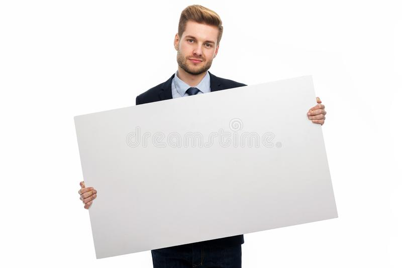 blanc d'homme de fixation d'affaires de panneau images stock