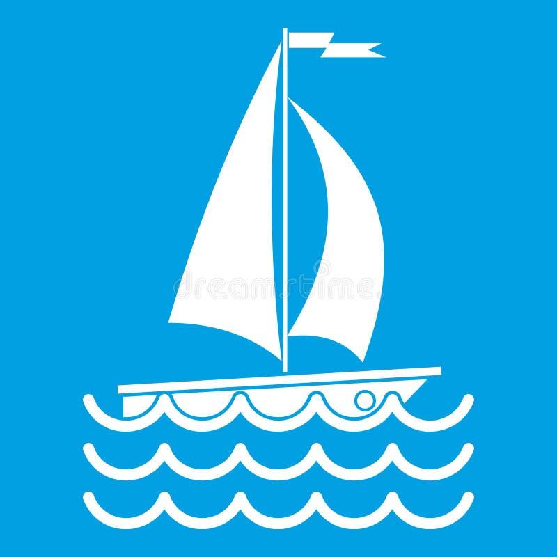 Blanc d'icône de yacht illustration de vecteur