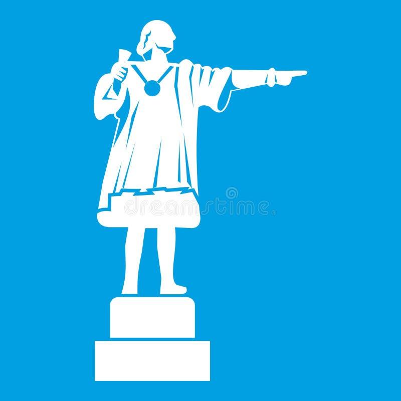 Blanc d'icône de monument de Columbus illustration de vecteur