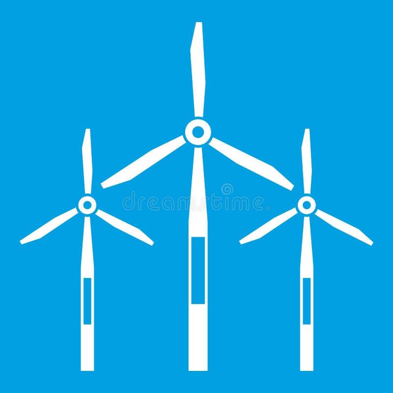 Blanc d'icône de turbines de générateur de vent illustration stock