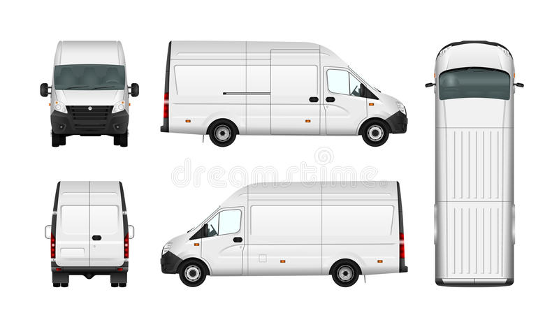 Blanc d'illustration de van vector de cargaison sur le blanc Minibus de message publicitaire de ville illustration stock