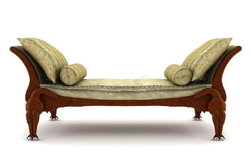 blanc d'isolement classique beige de sofa de fond illustration de vecteur
