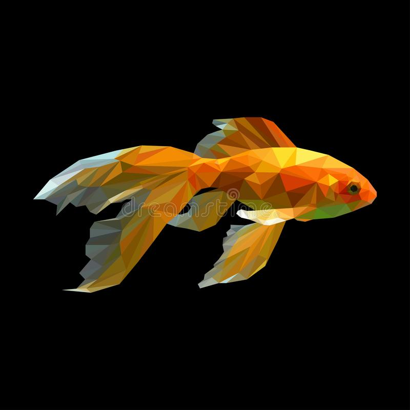blanc d'isolement d'or de poissons poissons abstraits de vecteur de polygone, or, queue, animal, aquarium, illustration libre de droits