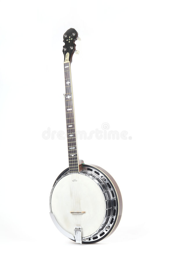 blanc d'isolement par banjo de fond photo stock