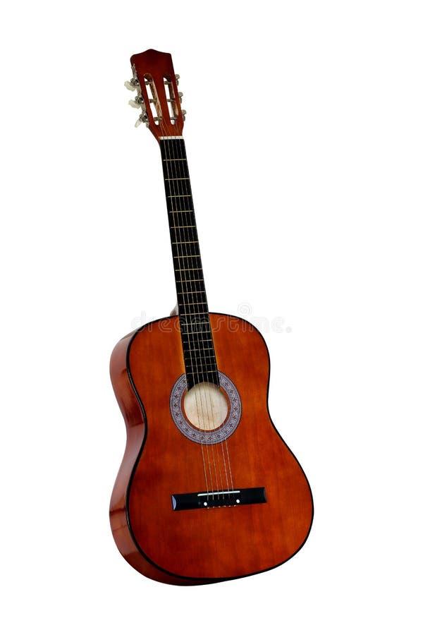 blanc d'isolement par guitare classique acoustique photographie stock libre de droits
