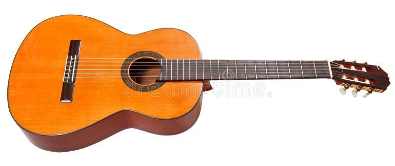 blanc d'isolement par guitare classique acoustique photos stock