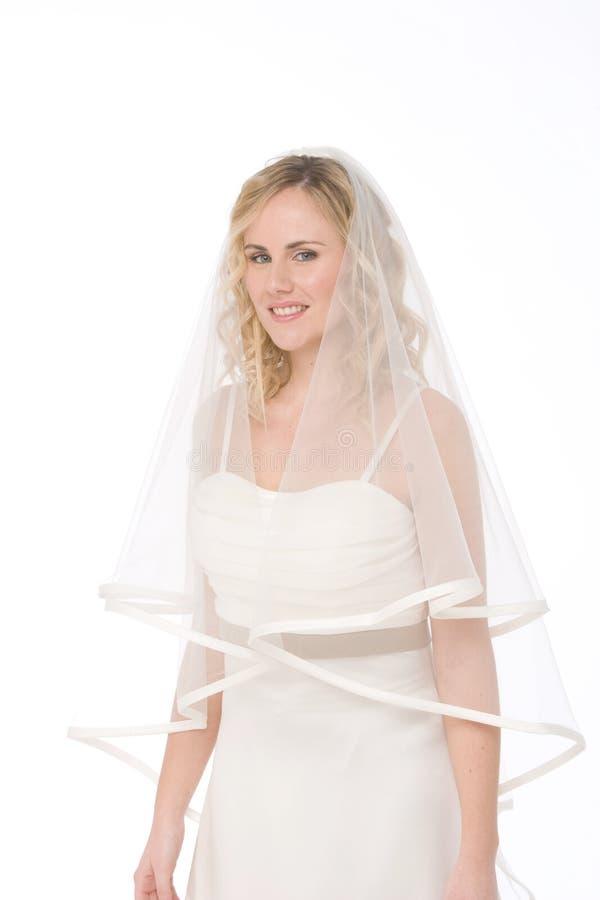 blanc d'isolement par mariée photographie stock libre de droits