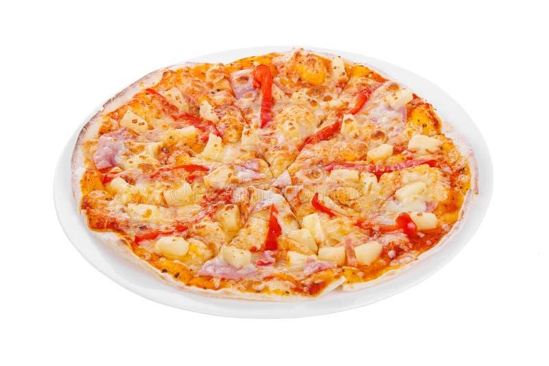 Blanc d'isolement par pizza photo stock