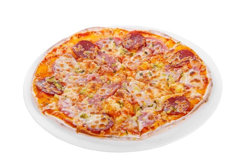 Blanc d'isolement par pizza image libre de droits