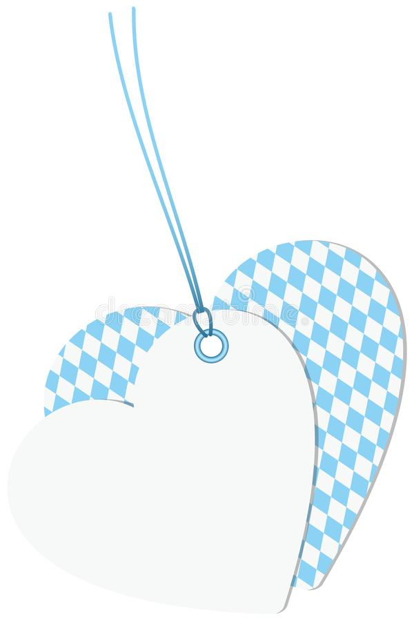 Blanc d'Oktoberfest Diamond Pattern Light Blue And de deux coeurs d'étiquettes du fabriquant illustration stock