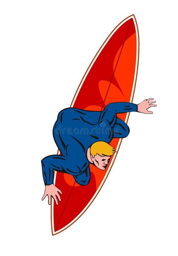 Blanc d'onde d'équitation de type de surfer illustration de vecteur