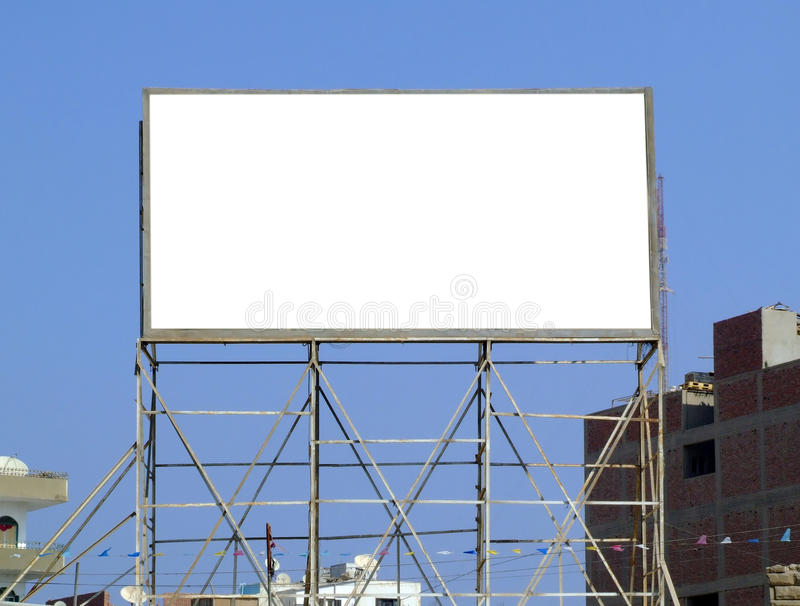 blanc de 06 panneaux-réclame photographie stock