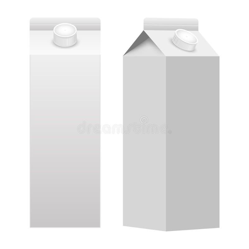 Blanc blanc de boîte de paquet d'emballage de carton de lait ou de jus d'isolement Vecteur illustration libre de droits