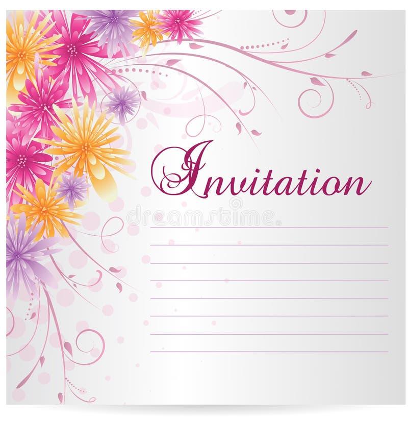 Blanc de calibre d'invitation avec les fleurs abstraites multicolores illustration stock