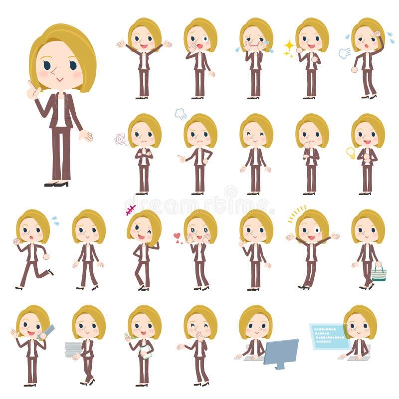Blanc de femme de cheveux blonds illustration de vecteur