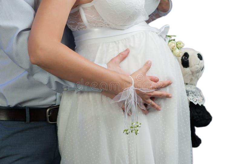 Blanc de femme enceinte images libres de droits