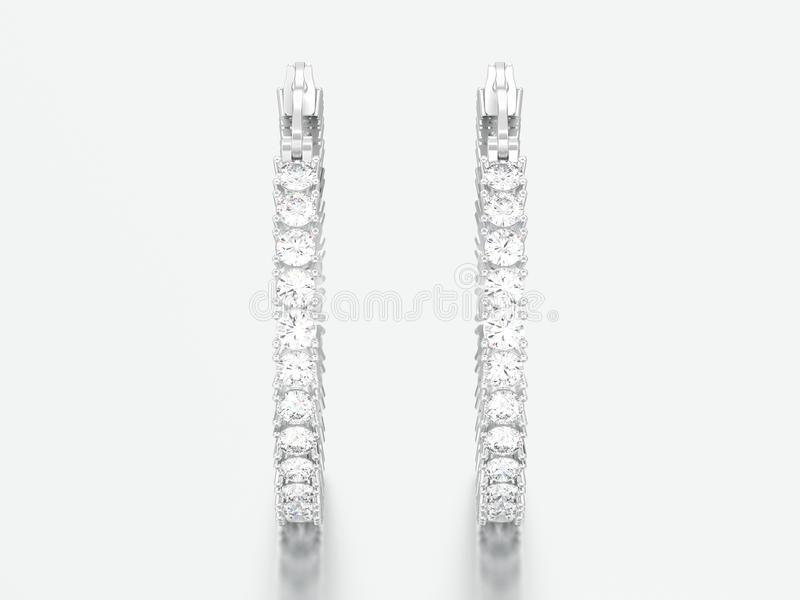or blanc de l'illustration 3D ou boucles d'oreille décoratives argentées de diamant photo stock