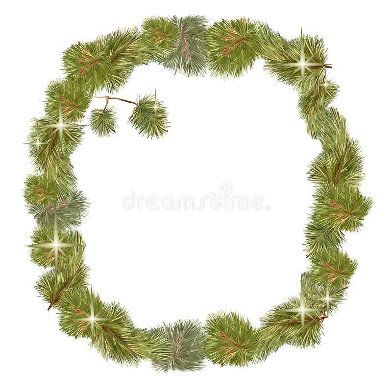 Blanc de Noël de cadre de pin illustration stock