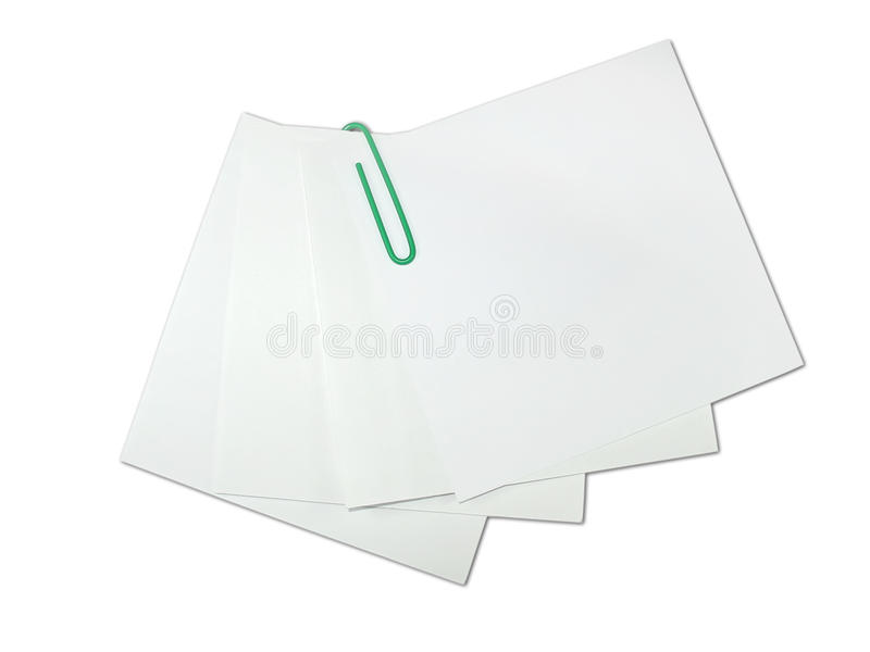 blanc de papier de rappel d'isolement par vert de clip photo libre de droits