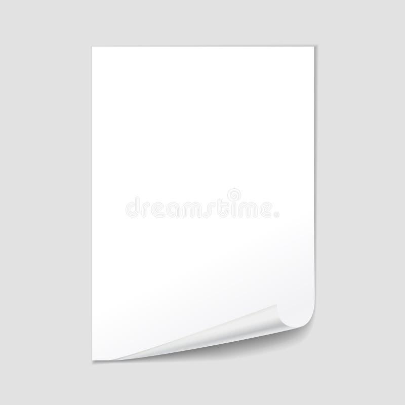 Blanc de papier vide de feuille avec la boucle de page, vecteur réaliste illustration de vecteur