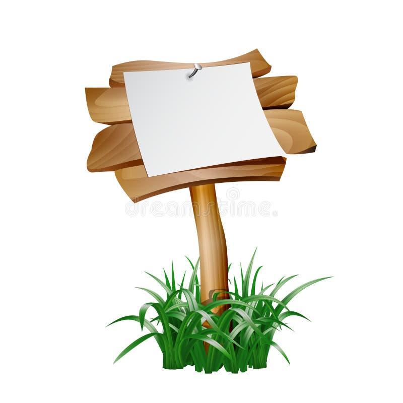 Blanc de papier vide sur l'enseigne en bois illustration de vecteur