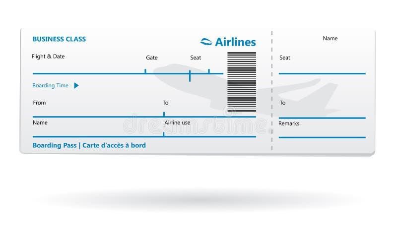 Blanc de passage d'embarquement de compagnie aérienne illustration libre de droits