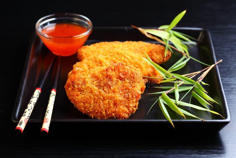 Blanc de poulet frit de /poivron image libre de droits
