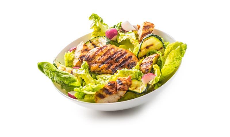 Blanc de poulet de gril de blanc de poulet avec la courgette de salade de laitue photos stock