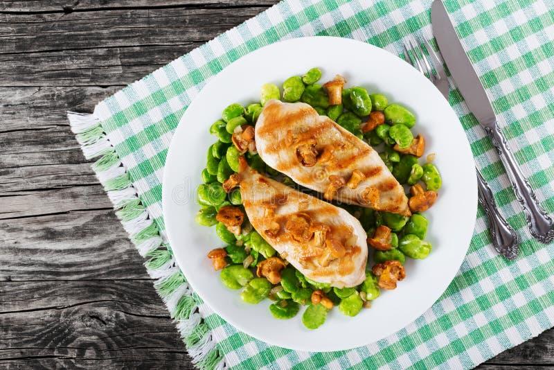 Blanc de poulet grillé, nouveaux haricots de lima verts photos libres de droits