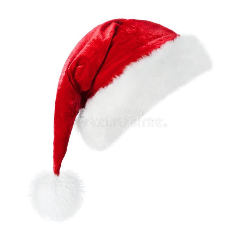 blanc de Santa de chapeau de fond photographie stock