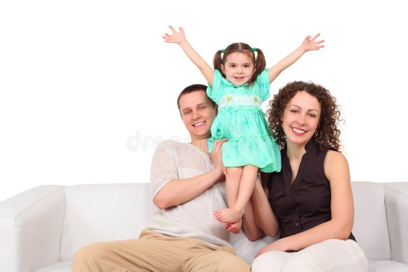 blanc de sofa de mère de cuir de père de descendant photos stock