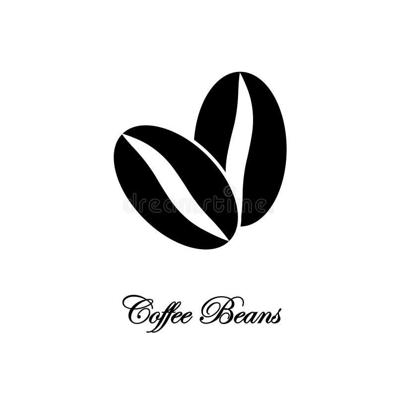 blanc de studio de projectile d'isolement par café d'haricots de fond Logo pour le magasin organique, café Conception plate de ve illustration stock