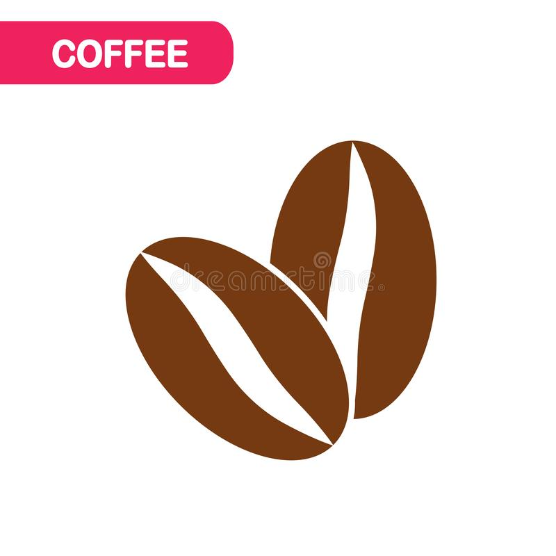 blanc de studio de projectile d'isolement par café d'haricots de fond Logo pour le magasin organique, café Conception plate de ve illustration de vecteur