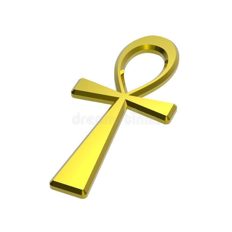 blanc de symbole d'isolement par or d'ankh illustration stock