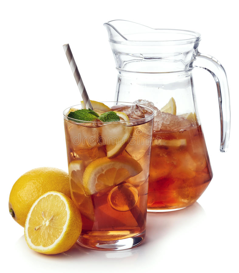 blanc de thé d'isolement par glace image stock