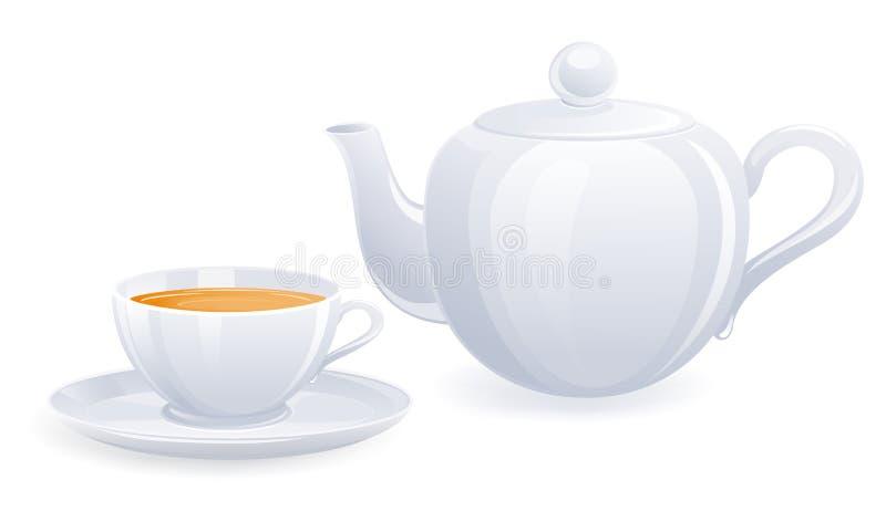 blanc de théière de tasse de thé illustration stock