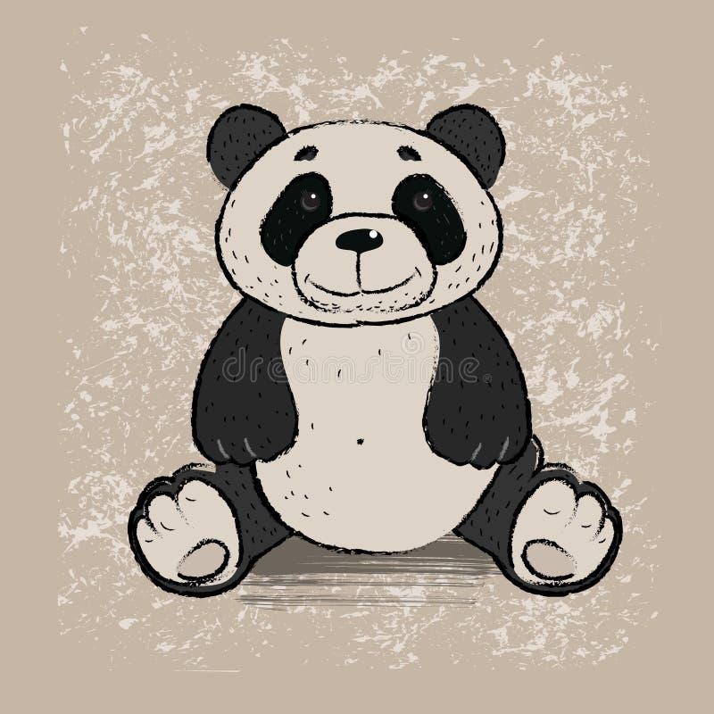 blanc de type de panda d'illustration de dessin animé d'ours de fond illustration de vecteur