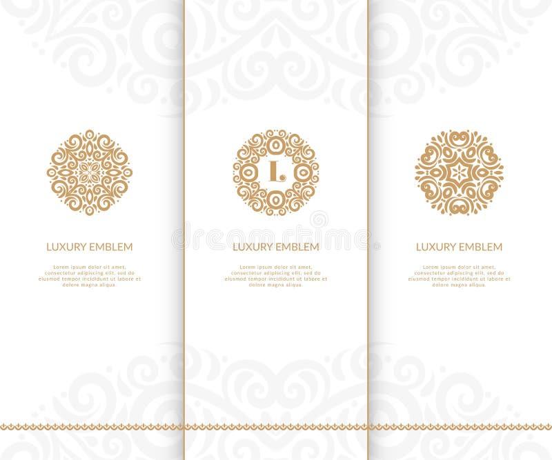 blanc de vecteur d'isolement par ENV de 8 emblèmes Peut être employé pour l'industrie de bijoux, de beauté et de mode Éléments él illustration de vecteur