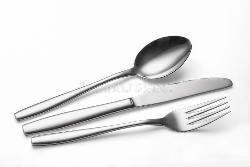 blanc de vecteur de cuillère de couteau d'illustration de fourchette de fond photo stock