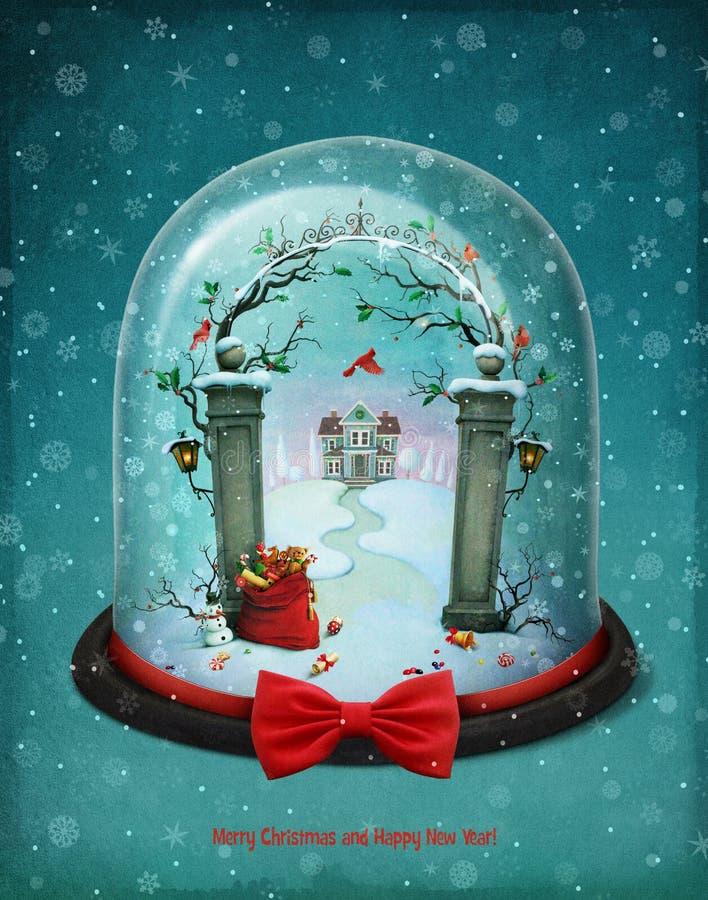 blanc de vecteur de neige d'isolement par illustration de globe illustration libre de droits